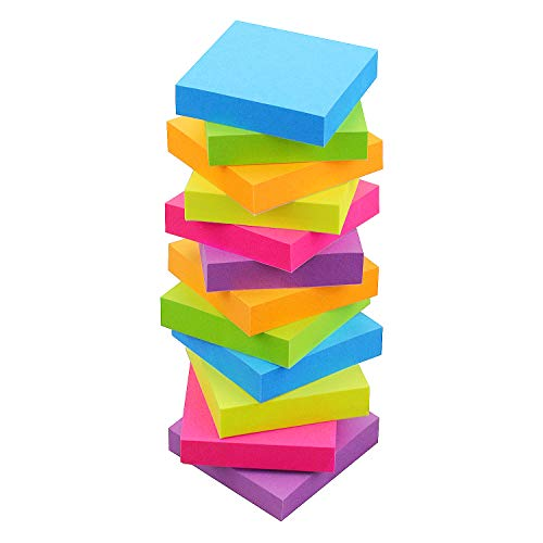 Sticky Notes 2x2, 6 Color Bright Colorful Sticky Pad, 12 Pads/Pack, 100 Sheets/Pad, Self-Sticky Note Pads ( Green, Yellow, Blue, Orange, Purple, Rose)