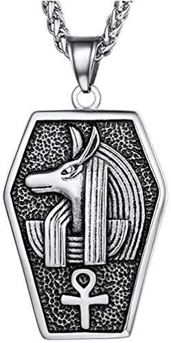 NC110 Hombres Anubis Egipcio Collares y Colgantes Si Color Metal Cadena de Acero Inoxidable Joyería de Moda YUAHJIGE