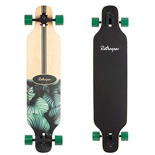 Retrospec Rift Drop-Through Longboard Skateboard Complete, Tropical Flora