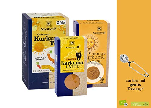 Sonnentor bio Kurkuma Set: Goldener Kurkuma Tee (bio Gewürztee) + Kurkuma Latte (Goldene Milch) + Sonnige Kurkuma Kekse ( bio Dinkelkekse Kurkuma) & gratis Teezange, BIO-AT-301