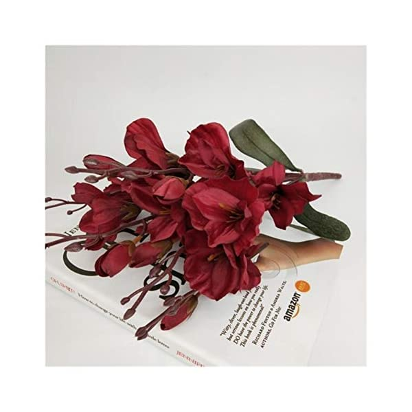 KEHUITONG PSGS 5 Fork Magnolia Bouquet Artificial Silk Flowers Wedding Christmas Party Home Decoration Fake Flower (Color : Wine red)