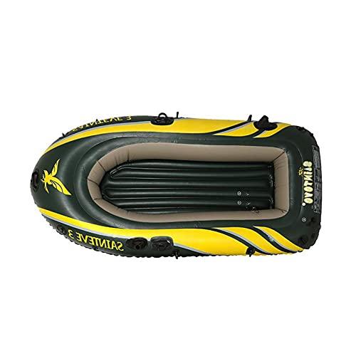 Barco inflable para 3 personas, kayaks hinchables, canoa, con cojín de asiento, remo, bomba, PVC antidesgaste para las cañas, bote de pesca para vacaciones con familia y amigos