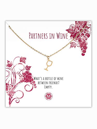 MURANDUM Geschenk Kette mit Weinglas | Wine Glass Necklace | Damenhalskette mit Weinglas Anhänger inklusive Geschenkkarte | Länge verstellbar (Gold)