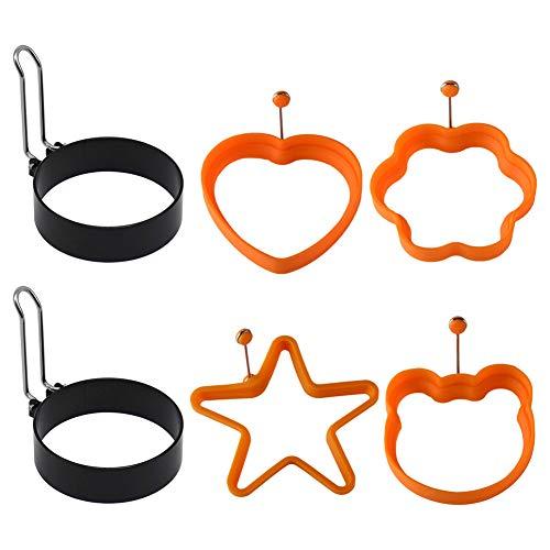 AODOOR Spiegeleiformen, Ei Ring Edelstahl, Egg Ring Silikon, Pancake Form Edelstahl Antihaft Pfannkuchen Form Spiegeleiform für Bratpfanne Eierformer Einstellen
