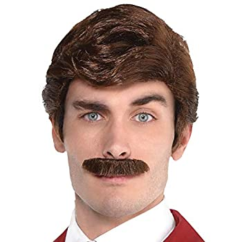 Party City Ron Burgundy Wig and Moustache Halloween Costume Accessory for Adults Anchorman Standard Size
