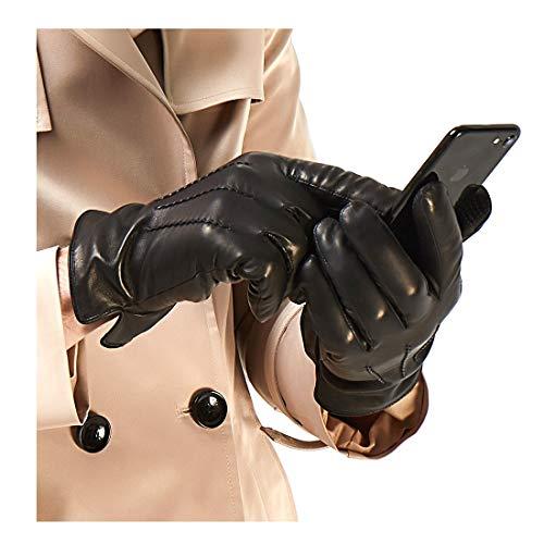 Harssidanzar Herren Luxus Italienische Schaffell Lederhandschuhe Vintage Finished Cashmere Gefüttert Touchscreen, Schwarz, XL