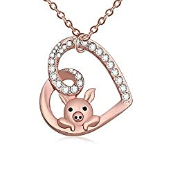 Image: TUSHUO Delicate Cute Hollow Heart Lovely Pig Pendant Necklace Piggy Crystal Jewelry for Women Girls Birthday