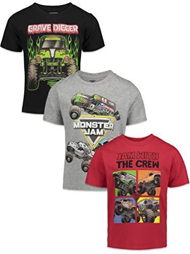 Monster Jam Trucks Big Boys 3 Pack T-Shirts Kids Black/Red/Grey 12
