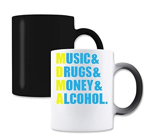 Music Drugs Money Alcohol MDMA Yellow Graphic Magische Farbe die Tee-Kaffeetasse ändert