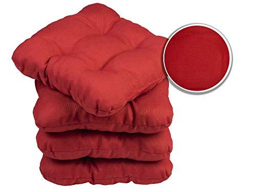 sunnypillow 4er Set Stuhlkissen 40x40 cm Bequeme 8cm Polsterauflage Auflage für Stühle/Bänke in Haus und Garten Sitzkissen Sitzauflage Gartenkissen viele Farben zur Auswahl Rot