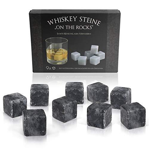 Amazy Whisky Steine (9 Stück) inkl. Samtbeutel – Wiederverwendbare Eiswürfel aus natürlichem, geschmacksneutralem Speckstein in edler Geschenkbox