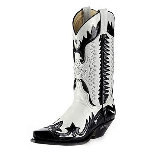 MNVOA Stivali da Cowboy Stivali Western da Donna con Punta A Punta Ricamati in Pelle PU da Uomo,Black And White,43 EU