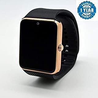 Adlyn GT0A Bluetooth Smart Watch, Touchscreen Smart Wrist Watch Smartwatch Phone Fitness Tracker with SIM SD Card Camera Pedometer Compatible iOS iPhone Android for Men Women Boys Girls & Kids (Gold)