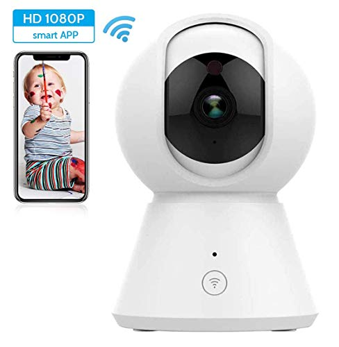 CCHKFEI Draadloze 1080P Beveiligingscamera, WiFi Home Surveillance IP-camera voor Baby/Oudere/Huisdier/Nanny Monitor, Pan/Tilt, Twee-weg Audio & Nachtzicht SD-kaartsleuf
