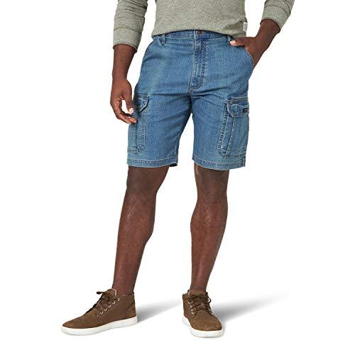 Wrangler Authentics Men s Classic Relaxed Fit Stretch Cargo Short, Medium Tint Denim, 36