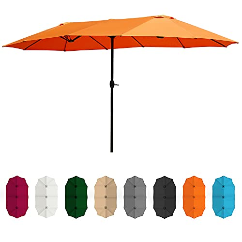 BELLEZE 15 Ft Extra Large Outdoor Market Patio Umbrella Double-Sided Design with Crank, Terra Cotta