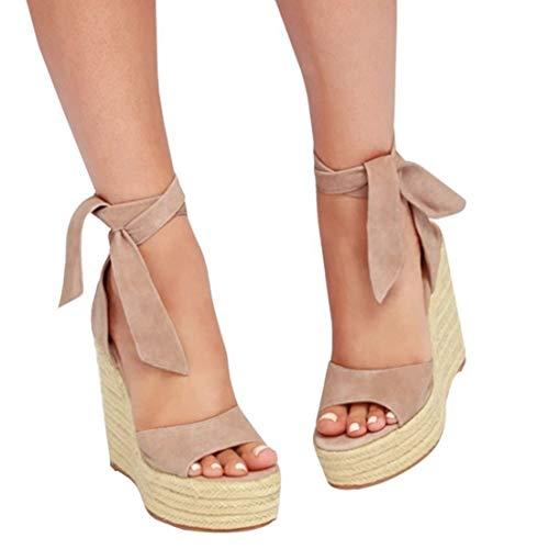 Womens Espadrille Platform Wedge Heel Peep Toe Ankle Strap Slingback Sandals Khaki