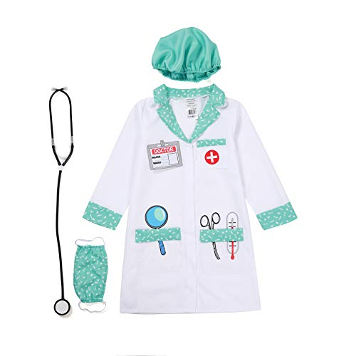 Wizland Child Role Play Dress Up Doctor Costume Playset for Kids,Doctor Nurse Medical Kits,4 pcs with Coat,Hat,Mask,Stethoscope,for Age 3-6