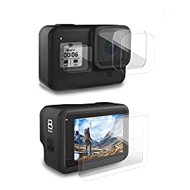 [6pcs] FINEST+ Screen Protector for GoPro Hero 8 Black Tempered Glass Screen Protector + Tempered Glass Lens Protector… 1 【Secifically Design】 Compatible with GoPro Hero 8.Black action camera Only. 【High-Transparency】It provides you high-definition clear viewing. Hydrophobic Oleophobic screen coating protects your camera screen against sweat and oil residue from fingerprints and keeps high-sensitivity touch response. 【9H hardness】 Our Tempered Glass has 9H hardness. It protects the camera screen from high impact drops, scratches, scrapes, and bumps. It also keeps away the camera screen from sharp objects such as keys and knives, etc.