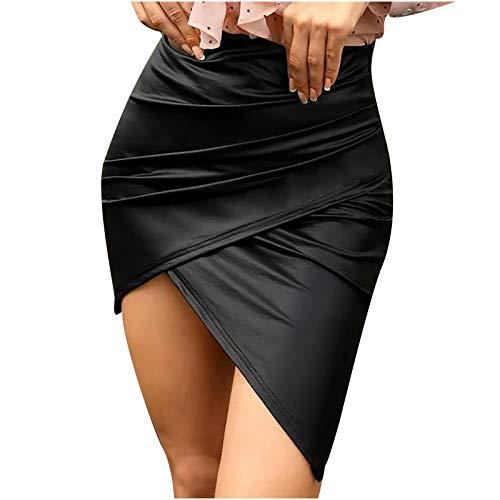 Falda Corta Irregular de Cuero Sexy para Mujer, Minifalda a Cuadros Informal de Cintura por Encima de la Rodilla Minifalda de Cintura Alta con Empalme sólido