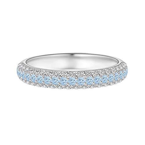 Shine Jewel 0.03 Ctw Anillo de Alianza de Boda de Media eternidad con Piedras Preciosas de Aguamarina Redonda de Triple Fila Oro 9K (Oro Blanco, 11)