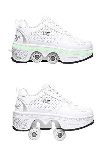 Barm Rollschuhe, Quad-LED-Rollschuhe, 2-in-1-Mehrzweckschuhe, Wanderschuhe Allrad-Skates Outdoor-Parkour-Flaschenzugschuhe für Damen, EU40