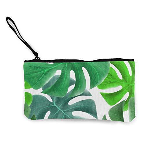 Patrón de hoja de tortuga tropical lona monedero bolso cremallera pequeñas carteras mujer portátil de gran capacidad personalizado