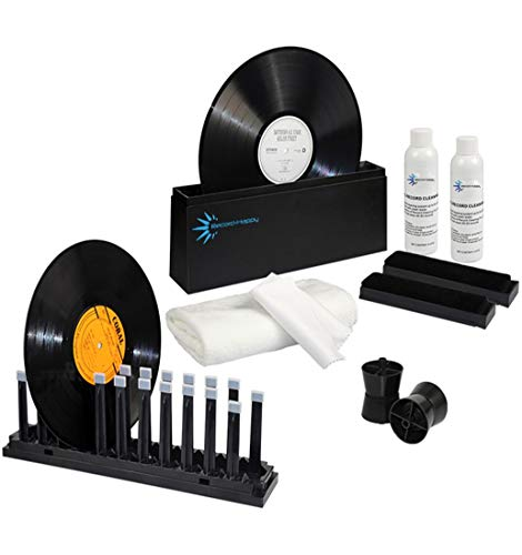Record Washer Deep Cleaning System - Premium Cleaner Kit by Record-Happy Includes Drying Rack 10oz Cleaning Solution, 2 Brushes, Cloths and Accessories for 33 and 45 RPM. Keep Your Lp Albums Like New