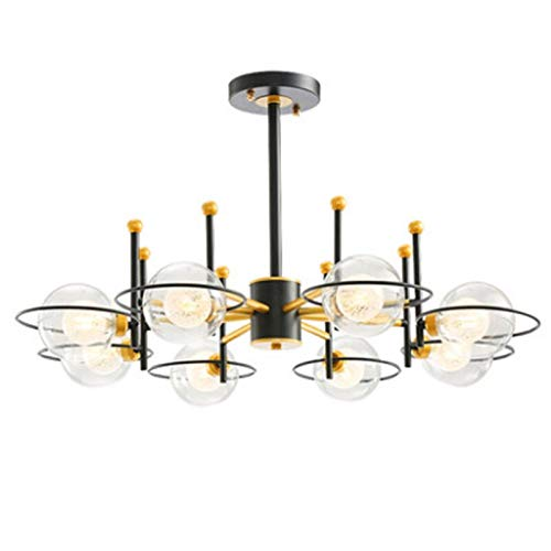 Nieuwe licht luxe zwart goud metaal kleur 8 kroonluchter post moderne restaurant ster decoratie LED G9 verlichting glas bal lampenkap (8 lights A)