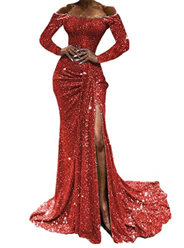 Soluo Women's Off Shoulder Sequined Sparkle Party Evening Cocktail Mermaid Dress Sexy...
