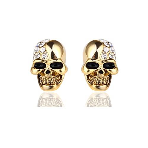 Xusamss Punk Body Piercing Earrings Crystal Skull Stud Earrings