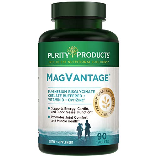 MagVantage   High Efficiency Magnesium Bisglycinate Chelate Buffered + Vitamin D + Zinc   Purity Products   Supports Energy, Cardio and Blood Vessel Function*   90 Tablets