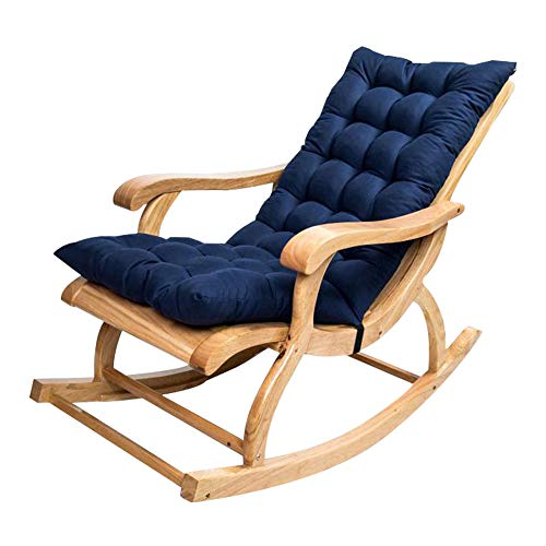 Rocking Chair Cushion Pads Sun Lounger Cushion Thick Garden Patio Relaxer Chair Pad Mat Replacement Non-Slip With Ties, 120 * 50cm, Not Included Chair (Navy Blue)