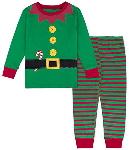 COSLAND Toddler Little Baby Boys' Christmas Pajamas Elf Costume (Green, 3T)