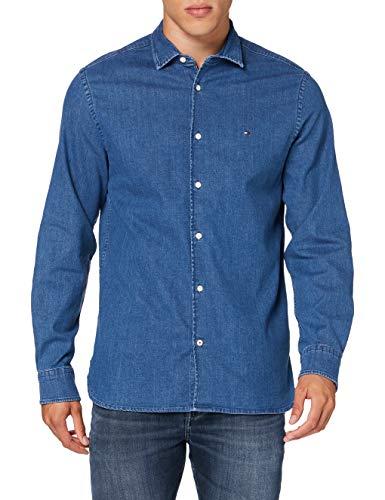 Tommy Hilfiger Flex Chambray Shirt Camisa, Denim, X-Small para Hombre
