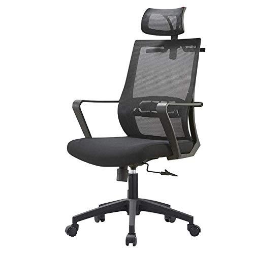 G.S.N. GSN Grad-Schwenker-Mesh-Schreibtisch-Kopfstütze Kippfunktion Explosionsgeschützte Pneumatic Stange verstellbar Höhe Moderne Aussehen Stahl Sessel (Color : Black)