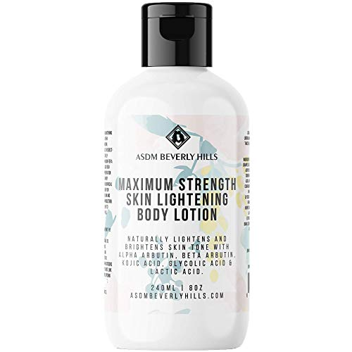 ASDM Beverly Hills Natural Maximum Strength Skin Lightening Body Lotion ~Anti Aging with Kojic Acid, Alpha Arbutin, Glycolic Acid, and Lactic Acid ~ For All Skin Type~8 Ounce 240 ML