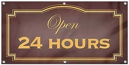8x4 Classic Brown Wind-Resistant Outdoor Mesh Vinyl Banner CGSignLab Open 24 Hours