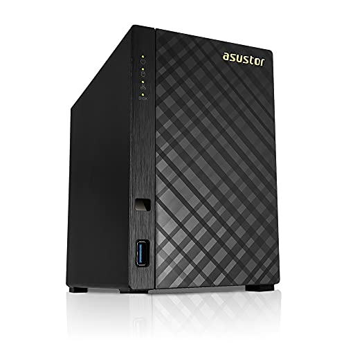 Asustor AS1002T v2-2 Bay NAS + Free exFAT License, 1.6GHz Dual-Core, 512MB RAM, Network Attached Storage, Personal Private Cloud (Diskless)