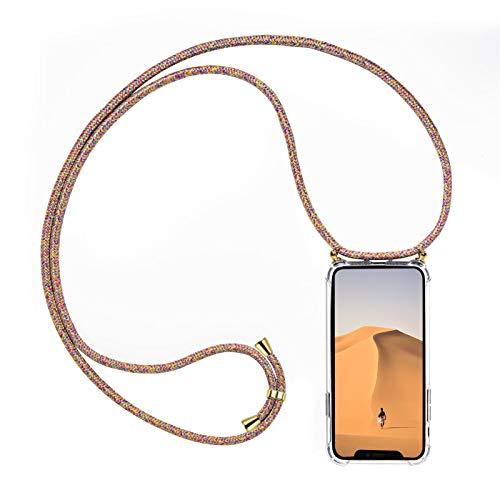 Verco Funda con Cuerda para Huawei Mate 20 Pro, Carcasa Transparente TPU Suave Silicona Case para Mate 20 Pro con Correa Colgante, [Cordon para Llevar en el Cuello], Multicolor