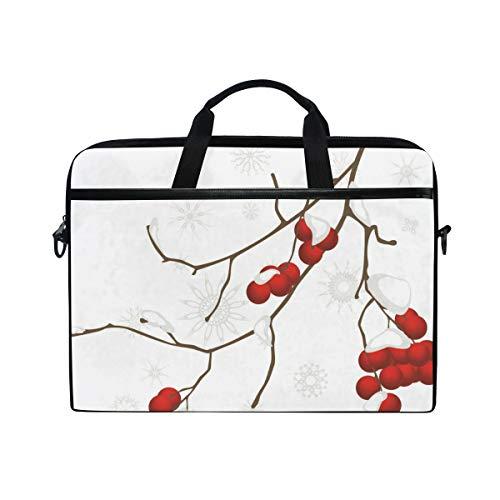 SIONOLY 15-15.4 inch Laptop Tasche,Künstlerische Zweig Rowan Pflanze mit Schnee bedeckt Winter Jahrnachtsbaum,Neue tragbare Computer Messenger Satchel Aktentasche Arbeit Umhängetaschen 15-15.4