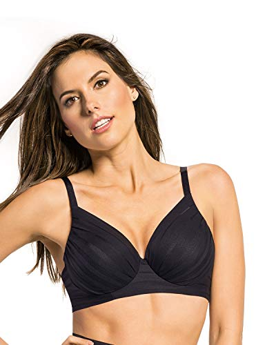 Leonisa Full Coverage Underwire Support Bra for Women with Luxury lace Black