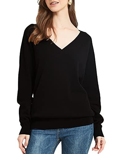 Kallspin Women's Cotton Pullover Sweater Relax Fit V Neck Long Sleeve Basic Fashion Knit Jumper (Medium, Black)