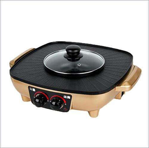 Grote capaciteit indoor hot pot chafing dish, elektrische barbecue grill, huishoudelijke multifunctionele non-stick pan elektrische kookplaat 1600W,Gold