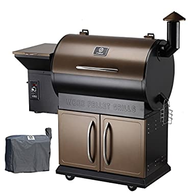 Z Grills Wood Pellet Grill & Smoker with Patio Cover,700 Cooking Area 7 in 1- Grill, Smoke, Bake, Roast, Braise and BBQ with Electric Digital Controls for Outdoor (Grill Cover included)