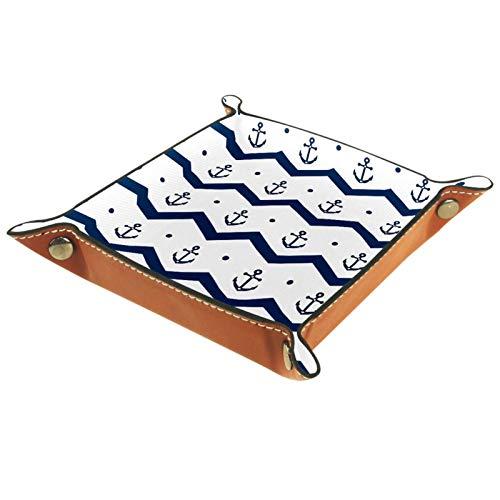 Weidandian Bandeja de Cuero - Organizador - Ancla Azul y Blanco. - Práctica Caja de Almacenamiento para Carteras,Relojes,Llaves,Monedas,Teléfonos Celulares y Equipos de Oficina