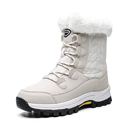 AONEGOLD Mujer Botas de Nieve Impermeable Zapatos Caliente Antideslizante Botas de Nieve Senderismo Trekking(Beige,38 EU)