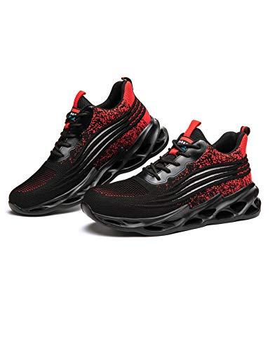 Letuwj Unisex indestructible dedo del pie de acero zapatos hombres mujeres antideslizante resistente a los pinchazos zapatillas, color Rojo, talla 43 1/3 EU