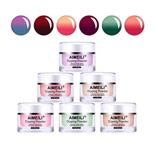 AIMEILI Dip Nail Colors Nail Art Powder 6 Colors Color Changing Dip Powder for Dipping Nail