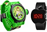 ROKCY Watch LED Digital Bnad Black & projuctor Green Dial Unisex Watch - Rubb_Blue